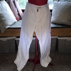 Old Navy trousers white linen cotton blend